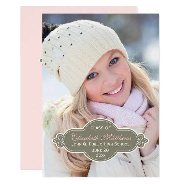 Fleur Graduation Photo - Drab Green | Pink Card