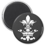 Fleur Heart Crown - Black 2 Inch Round Magnet