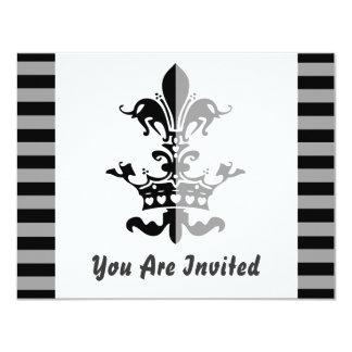 Fleur Heart Crown - Black 4.25x5.5 Paper Invitation Card