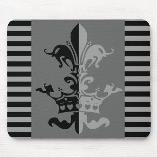 Fleur Heart Crown - Black Mouse Pad