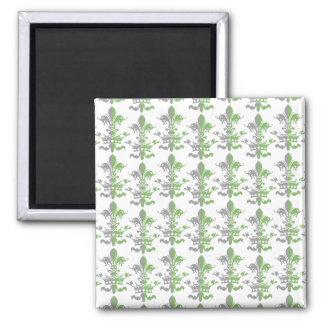 Fleur Heart Crown - Green 2 Inch Square Magnet