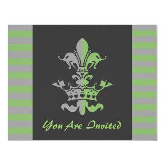Fleur Heart Crown - Green 4.25x5.5 Paper Invitation Card