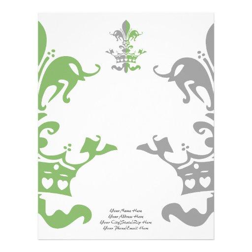 Fleur Heart Crown - Green Customized Letterhead