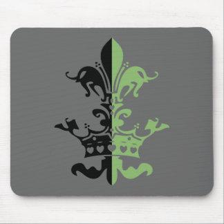 Fleur Heart Crown - Green Mouse Pads