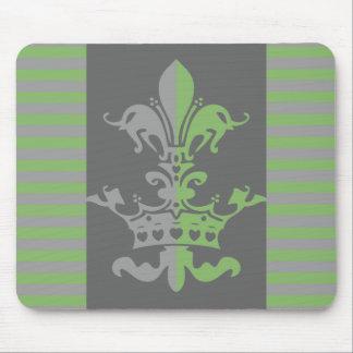 Fleur Heart Crown - Green Mouse Pad