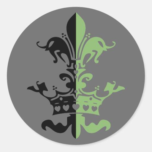 Fleur Heart Crown - Green Round Stickers