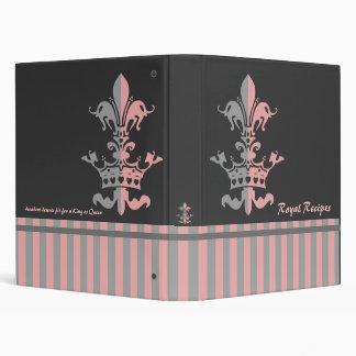 Fleur Heart Crown - Pink 3 Ring Binder