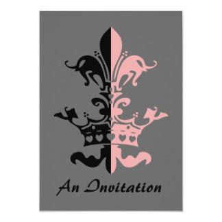 Fleur Heart Crown - Pink 5x7 Paper Invitation Card