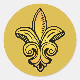 Fleur medieval - oro etiquetas redondas