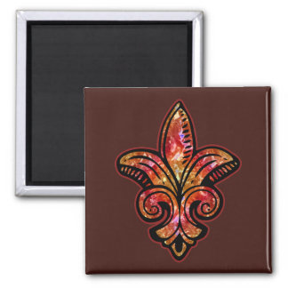 Fleur Medieval - Red 2 Inch Square Magnet