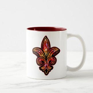 Fleur Medieval - Red Two-Tone Coffee Mug