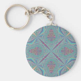 Fleur Pin Stripe Basic Round Button Keychain