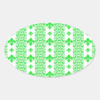 Fleur Stripe 1 Green Oval Sticker