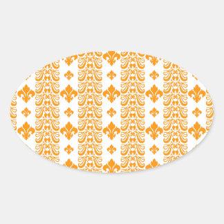 Fleur Stripe 1 Orange Oval Sticker