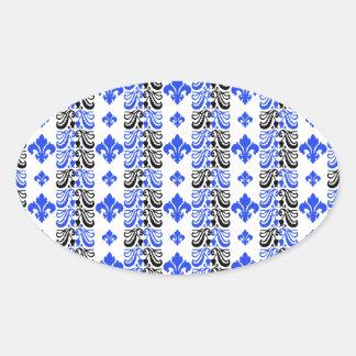 Fleur Stripe 1a Blue Oval Sticker