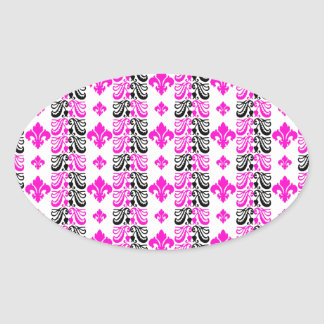 Fleur Stripe 1a Pink Oval Sticker