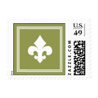 Fleur verde oliva elegante timbres postales