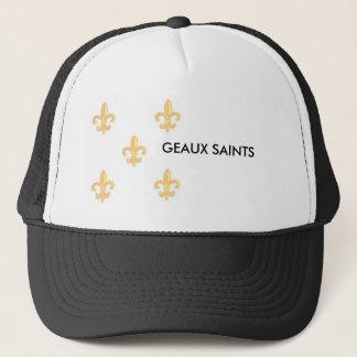 FleurdelisGoldonWhite 1, GEAUX SAINTS Trucker Hat