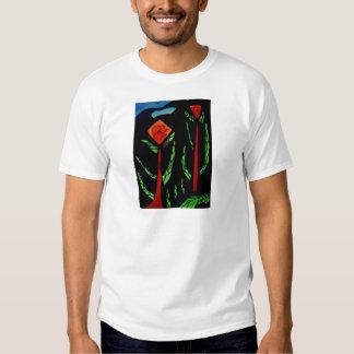 Fleurs abstraites avec des oiseaux t-shirt