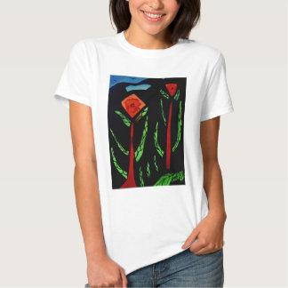 Fleurs abstraites avec des oiseaux t shirt