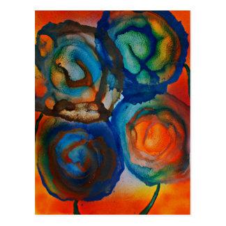 Fleurs abstraites dans le soleil postcard