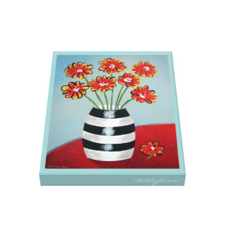 Fleurs and Stripes Canvas Stretched Canvas Print
