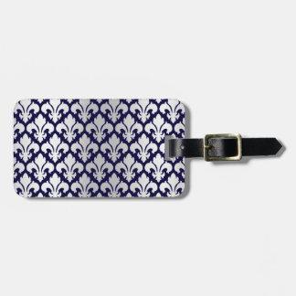Fleurs-de-lys Silver and Blue Bag Tag