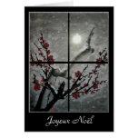 Fleurs de prunier sous une nuit d'hiver greeting cards