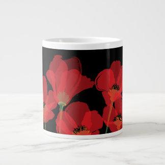 Fleurs Rouges Sur Noir 20 Oz Large Ceramic Coffee Mug