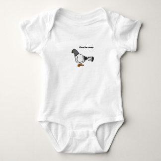 Flew the Coop Gray Pigeon Cartoon Baby Bodysuit