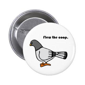 Flew the Coop Gray Pigeon Cartoon Button
