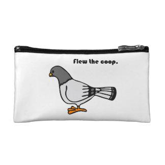 Flew the Coop Gray Pigeon Cartoon Makeup Bag