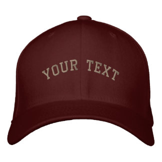 Flexfit Wool Embroidered  Cap Maroon Embroidered Hat