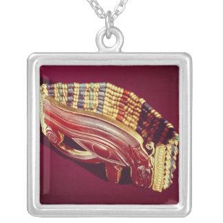 Flexible bead bracelet square pendant necklace