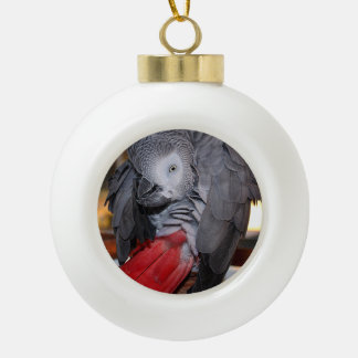Flexible Congo African Grey Parrot with Red Tail Ceramic Ball Christmas Ornament