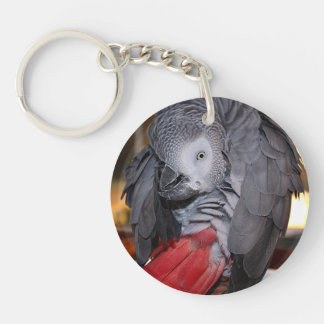Flexible Congo African Grey Parrot with Red Tail Keychain