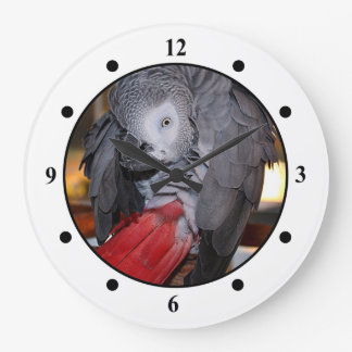 Flexible Congo African Grey Parrot with Red Tail Large Clock