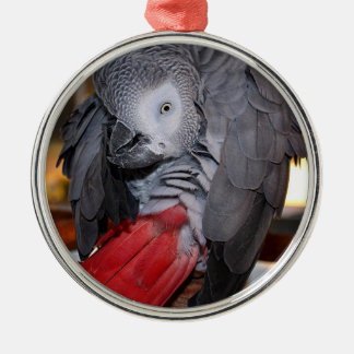 Flexible Congo African Grey Parrot with Red Tail Metal Ornament