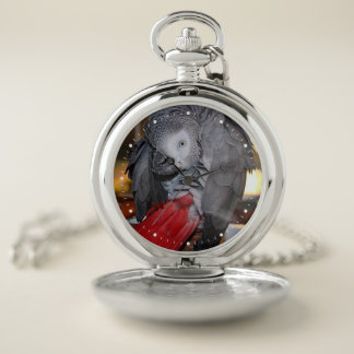 Flexible Congo African Grey Parrot with Red Tail Pocket Watch
