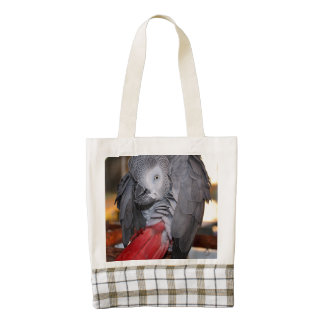 Flexible Congo African Grey Parrot with Red Tail Zazzle HEART Tote Bag