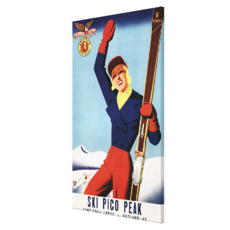 Flexible Flyer Pin-Up Skiing Girl Stretched Canvas Prints