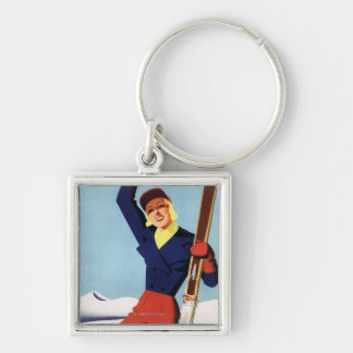 Flexible Flyer Pin-Up Skiing Girl Key Chains