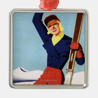 Flexible Flyer Pin-Up Skiing Girl Metal Ornament
