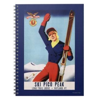 Flexible Flyer Pin-Up Skiing Girl Spiral Notebook