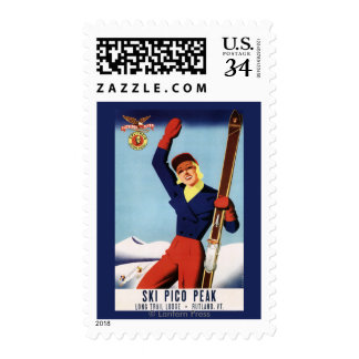 Flexible Flyer Pin-Up Skiing Girl Postage Stamp