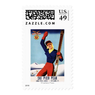 Flexible Flyer Pin-Up Skiing Girl Postage Stamps