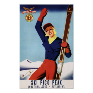 Flexible Flyer Pin-Up Skiing Girl Poster at Zazzle