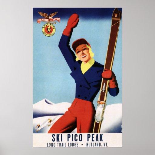 Flexible Flyer Pin-Up Skiing Girl Poster