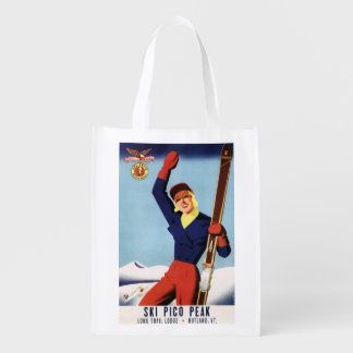 Flexible Flyer Pin-Up Skiing Girl Market Tote