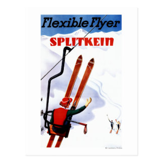 Flexible Flyer Splitkein Wooden Skis Promo Postcard
